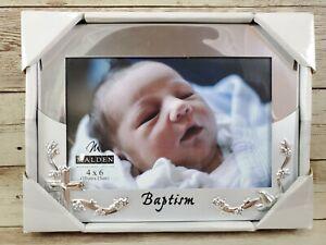 Malden Baby Baptism Christening Picture Frame 4x6 Silver Mirrored NIB