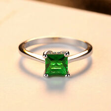 0.25Ct Princess Cut Green Emerald Solitaire Engagement Ring 18ct White Gold Over