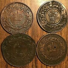 LOT OF 4 CANADA PRE CONFEDERATION LARGE CENT PENNY LOT OF 4 COINS