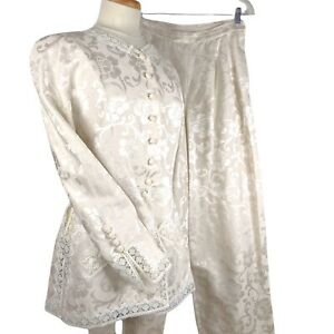 Vintage 80s Valentino Boutique Two 2 Piece Pant Suit Ivory Silk Damask Lace XS S
