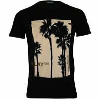 Replay Tropical Logo Crew-Neck Men's T-Shirt, Black