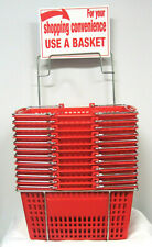 Twelve (12) Red Hand-Held Shopping Baskets with Rack & Sign, Metal Handles - NOS