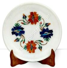 """7"""" Marble Decorative Serving Plate Carnelian Marquetry Floral Art Christmas Gift"""