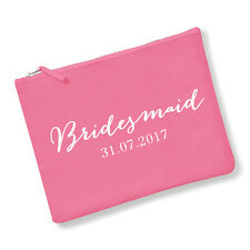Personalised Bridesmaid Make Up Bag/Pouch - Pink/White - Wedding Gift Favour