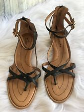 Crown By Born Black Leather Strappy Wedge Sandals Shoes Size 11