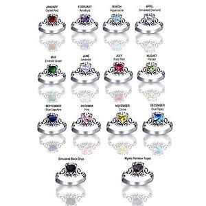Filigree Celtic Design Heart Cut Birthstone Sterling Silver Ring Size 4 - 12