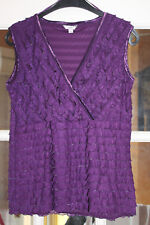 LADIES PURPLE COLOURED SLEEVELESS CROSSOVER V NECK TOP FROM KLASS SIZE M