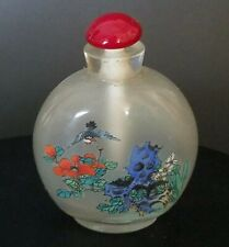 New listing Rare Antique Chinese Inside Reverse Painted Glass Snuff Bottle Swallow Bird
