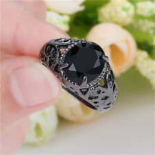 Hot Trendy Jewelry Gorgeous Black Sapphire  black Rhodium Plated Ring Size 9