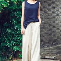 Lady Cotton Linen Vest Tank Tops Summer Scoop Neck Sleeveless Blouse Basic Shirt