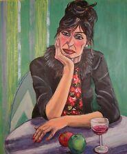 "Yvonne Auld original ""réflexion"" Christian Schad style Dada peinture femme"