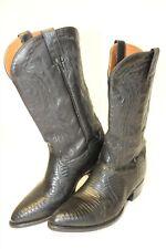 Dan Post Mens 8 EW Wide Tall Black Leather and Lizard Skin Cowboy Western Boots