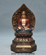 "6.2"" Old Tibet Boxwood Painting Seat Shakyamuni Amitabha Buddha Backlight Statue"