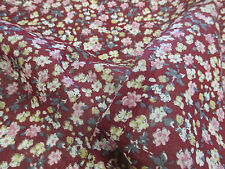 "Burgundy ""Blossoms"" Summer Floral Printed 100% Cotton LAWN/VOILE Fabric"