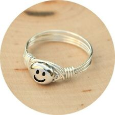 Smiley Face Ring -Sterling Silver Filled Wire Wrapped Ring- Any Size 4-14