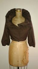 New NWT BCBG Azria Brown Taffeta Cropped Evening Shrug Jacket Puff Sleeve Sz XXS