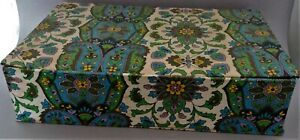 Box To Needlework Vintage Floral Fabric Blue