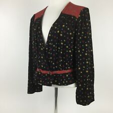 FREE PEOPLE Black Where We Roam Long Sleeve Red Yellow Printed Top Blouse L $98
