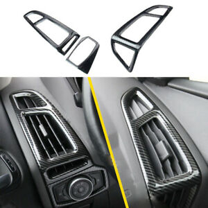 Carbon Fiber Style AC Air Condition Vent Cover Trim Fit For Ford Focus 2012-2017