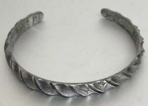 Hand forged Damascus bangle steel 8mm wide - hand polished and finished - medium