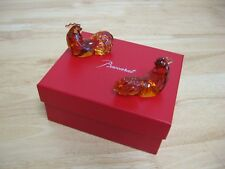 Baccarat - Set of French Crystal Chopstick Rests - Roosters - NIB