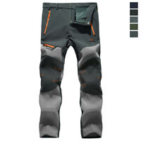 Men's Winter Ski Sport Pants Fleece Lined Outdoor Hiking Trousers 5 Zip Pockets