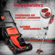 """Cordless Lawnmower 16"""" 41cm Plus Line trimmer Strimmer Powerworks Greenworks"""