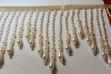 "Handmade Very Beautiful 5.5""  Beaded Fringe Trim White Pearl Acrylic/Glass O"