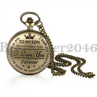 """TO MY SON, I LOVE YOU FOREVER""Analog Quartz Movement Pocket Watch Xmas Gift"