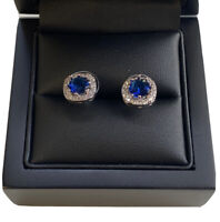 White gold finish 8mm Round Cut Sapphire And Created diamond Stud earrings