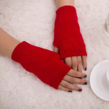 Women Girl Knitted Arm Fingerless Warm Winter Gloves Soft Warm Mitten Solid #FT