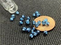 Blue & Black Glass Mini Micro Marbles Worlds Smallest Handmade Miniature Marbles