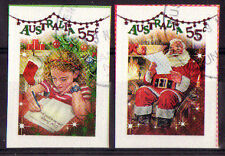 "AUSTRALIA 2010 CHRISTMAS ""SHINY"" SELF ADHESIVE SET OF 2 DIFFERENT FINE USED"