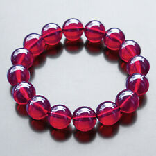 17.85g Simulated BLOOD RED Amber Round Beads Bracelet MRBX92