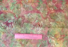 Cotton - Quilting - Batik - Large Tropical Leaves on Coral/Mauve  - 1 yd +