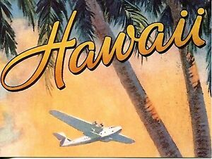 POST CARD OF AN OLD TRAVEL POSTER FOR HAWAII VERY RETRO
