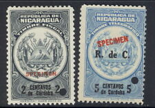 Nicaragua 1910?, 2  fiscals, SPECIMEN overprint, from Am. Banknote archives