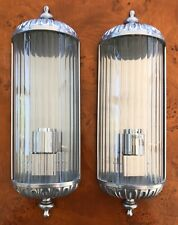 A Pair Of Vintage Style Metal And Glass Italian Wall Lights
