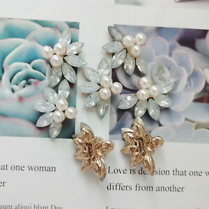 5 Acrylic Pearl Clothes Sewing Deco Crystal Flower Embellishment Jewelry 31x23mm