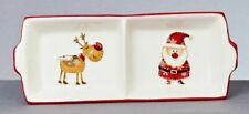 Christmas Tableware Ceramic Santa And Friends 2 Divided Dish Oblong Plate NEW