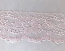 "3"" Pink Lace Trim Flat Floral Flower Wide 10 yards Free Shipping New"