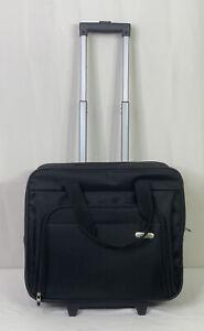 Targus Computer Laptop 2 Slot Black Travel Bag On Wheels Telescoping Handle