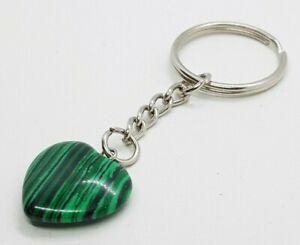 Natural Malachite Heart Quartz Crystal Keyring Love Healing Gemstone Key Ring