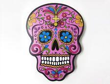 Mini Pink Sugar Skull Wall Clock Day of the Dead Dia De Los Muertos Unique Decor