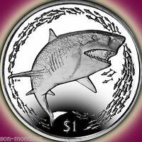 2016 Lemon Shark - CuNi Copper Nickel Unc Coin - British Virgin Islands 1 DOLLAR