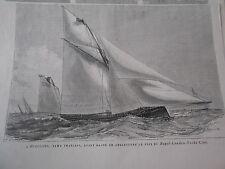 Gravure 1880 - L'Henriette Yawl francais ayant gnagné en Angleterre Royal London