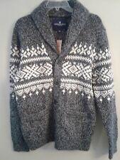 NWT AMERICAN EAGLE Men's Snowflake Cardigan Sweater MEDIUM Gray #431303