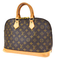 Authentic LOUIS VUITTON LV Alma Hand Bag Monogram Leather Brown M51130 76MG627