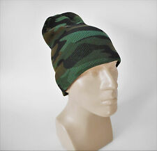 Winter Camo Beanie Watch Cap Green Camouflage 2-Layer One Size Acrylic Hiking