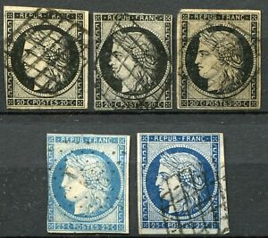 (375) 5 VERY GOOD USED FRANCE 1849 CERES ISSE SG6 - SG13